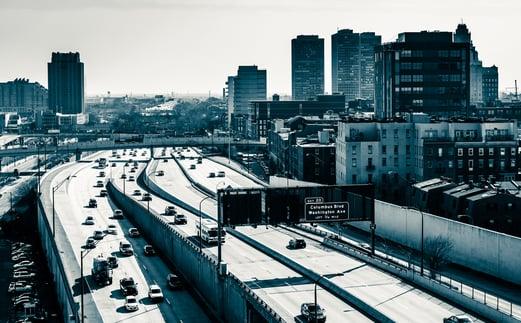 View of the Delaware Expressway from the Ben Franklin Bridge Walkway in Philadelphia, Pennsylvania.