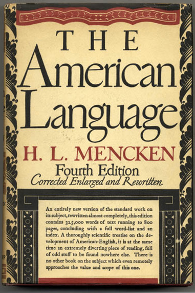 Cover for the first printing of the fourth edition of H. L. Mencken's The American Language